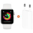Apple Watch Series 3 38mm Silver Aluminium/Wit + Apple USB Power Adapter