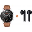 Huawei Watch GT 2 Zilver/Bruin 46mm + Freebuds 3 Zwart