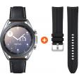 Samsung Galaxy Watch3 Zilver 41 mm + Samsung Galaxy Watch3 41mm Siliconen Bandje Zwart 20mm