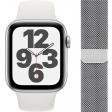 Apple Watch SE 44mm Zilver Aluminium Witte Sportband + Apple Watch 42/44 mm Polsband Milanees Zilver