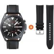 Samsung Galaxy Watch3 Zwart 45 mm + Samsung Galaxy Watch3 45mm Siliconen Bandje Zwart 22mm