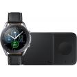 Samsung Galaxy Watch3 Zilver 45 mm + Samsung Draadloze Oplader DUO Pad 9W Zwart