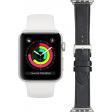 Apple Watch Series 3 42mm Zilver Wit Bandje + DBramante1928 Leren Bandje Zwart/Zilver