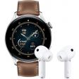 Huawei Watch 3 Classic 4G Zilver/Bruin 46mm met oordopjes