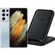 Samsung Galaxy S21 Ultra 128GB Zilver 5G + Samsung Wireless Charger Stand 15W Zwart